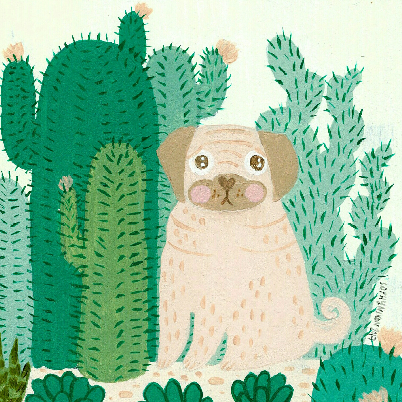 Pug and Cacti by Sophy Nixon 2017